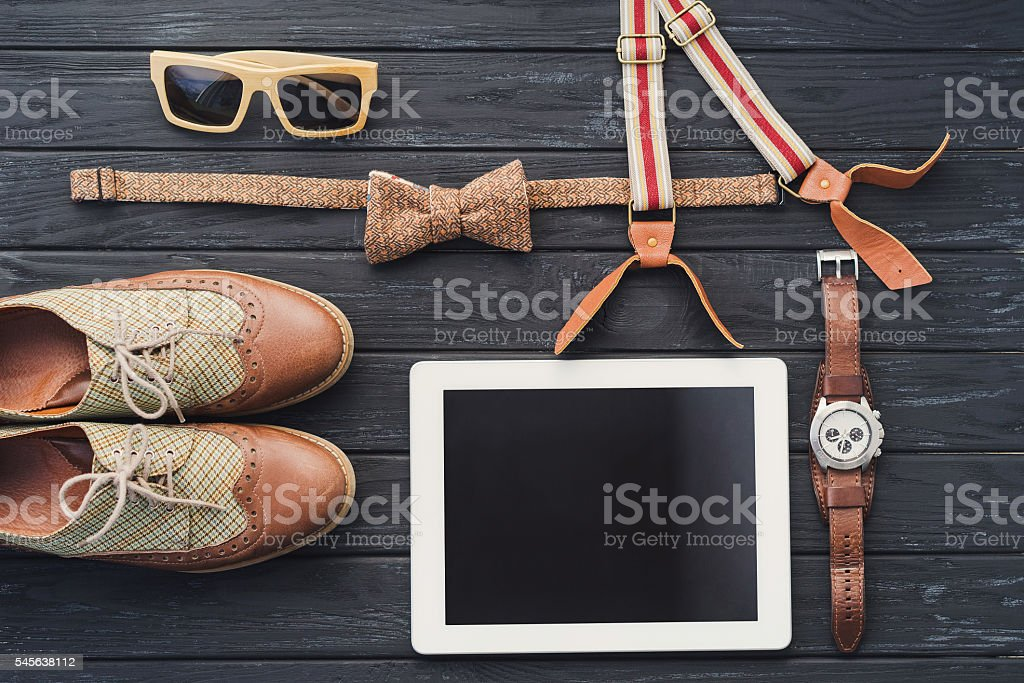 Top view of essentials for modern young person stock photo
