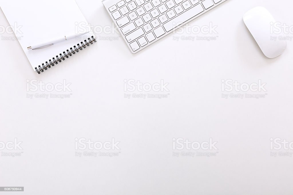 Top View of Executive Working Place on White Background stock photo