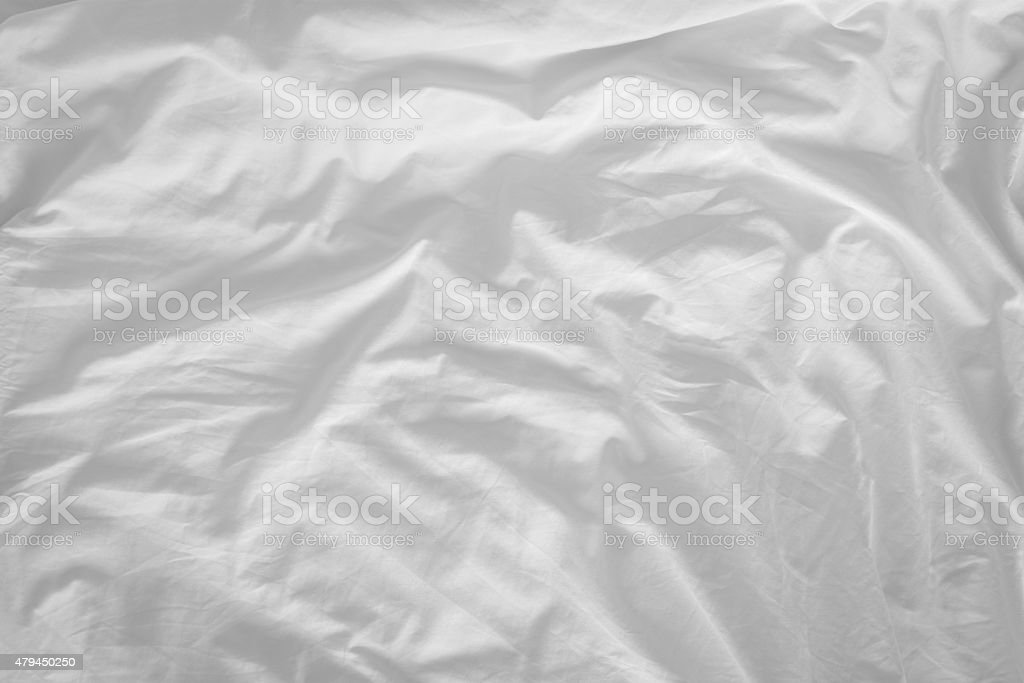 Top view of f bedding sheets and pillow stock photo