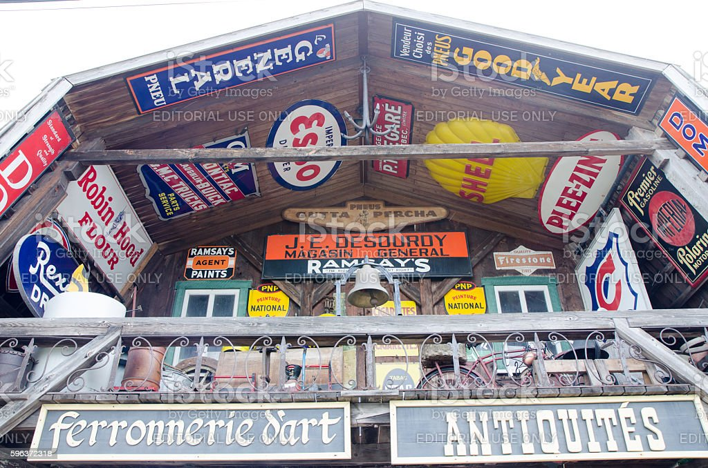 Top view of facade of Antique Store stock photo