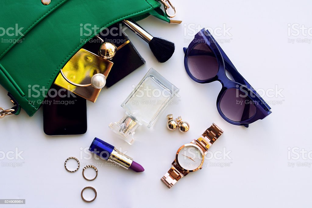Top view of fashion female accessories for woman stock photo
