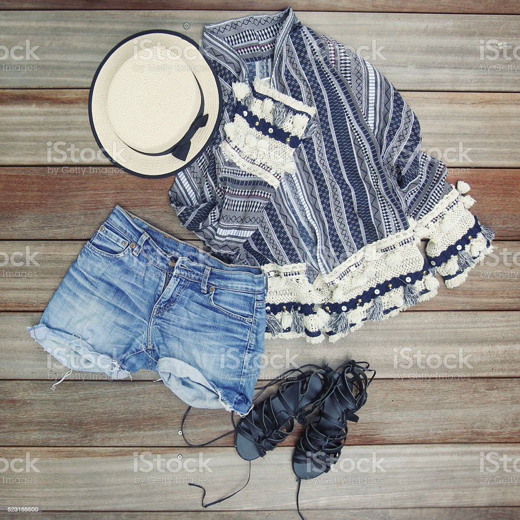 Top view of female essentials festival, vacation fashion items stock photo