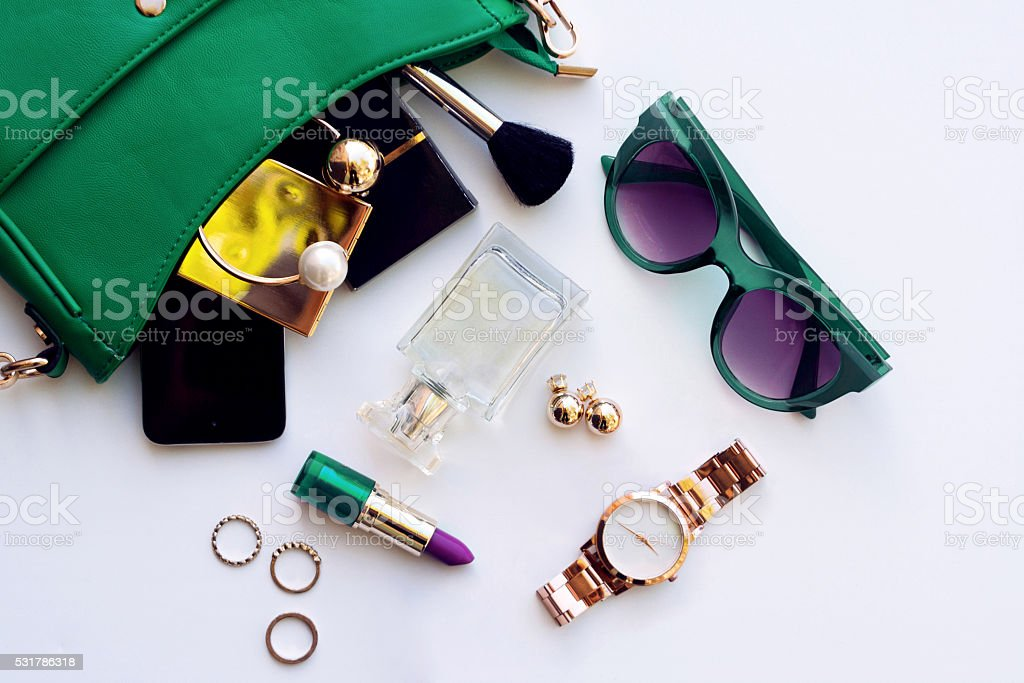 Top view of female fashion accessories stock photo