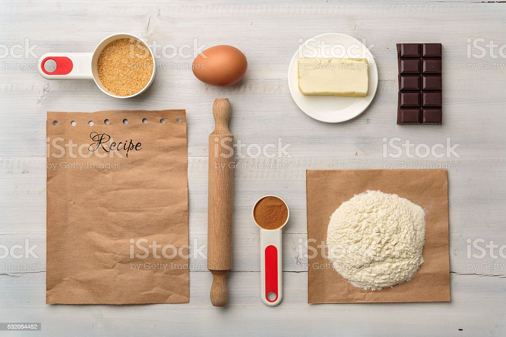 Top view of food ingredient with copy space for recipe stock photo