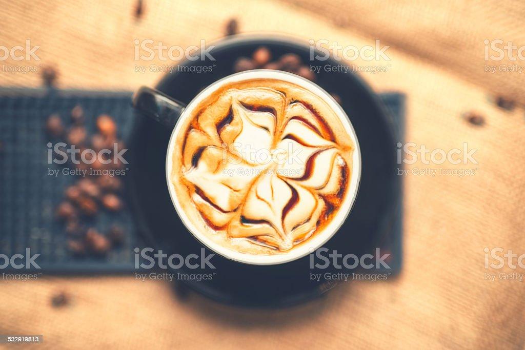 Top view of fresh arabic aromatic espresso coffee with milk stock photo