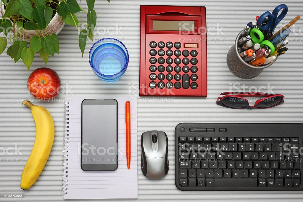 top view of full office desk stock photo