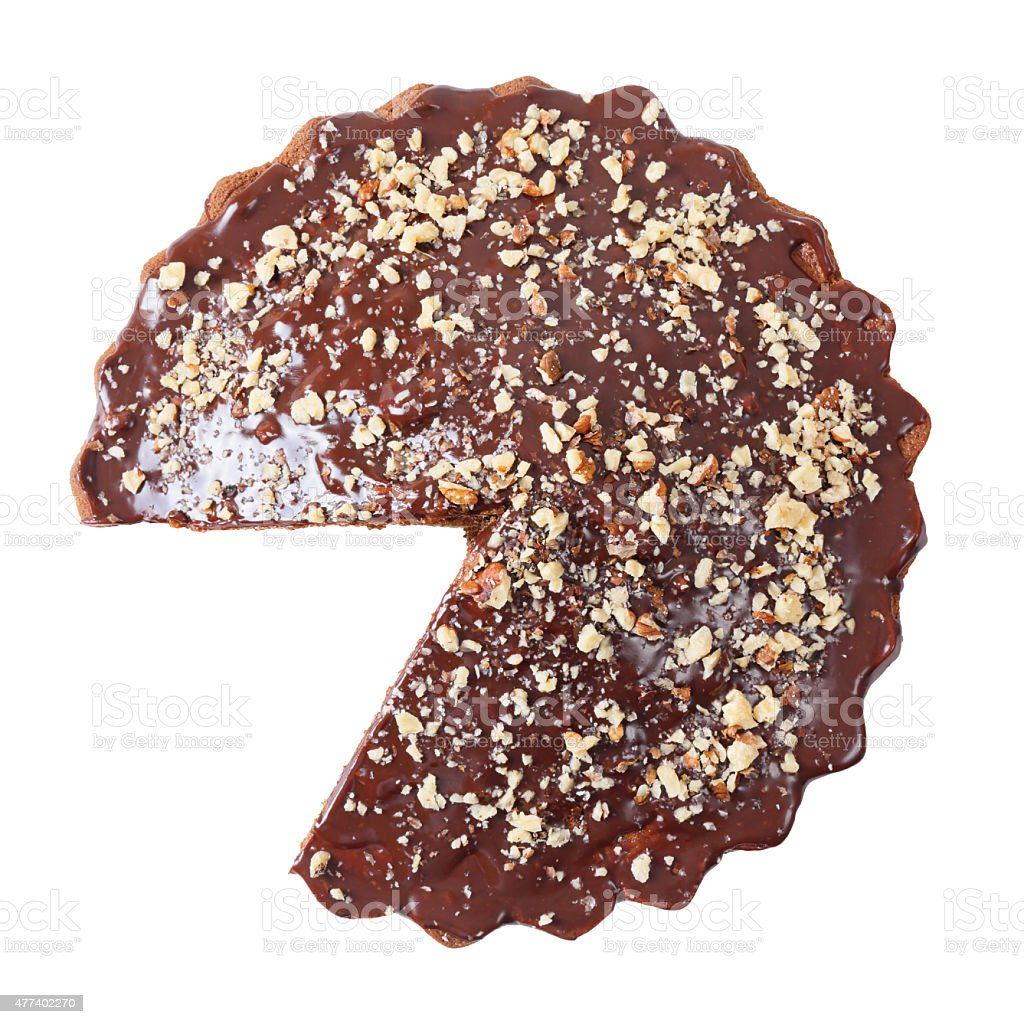 Top view of glazed and sprinkled pie without a piece stock photo