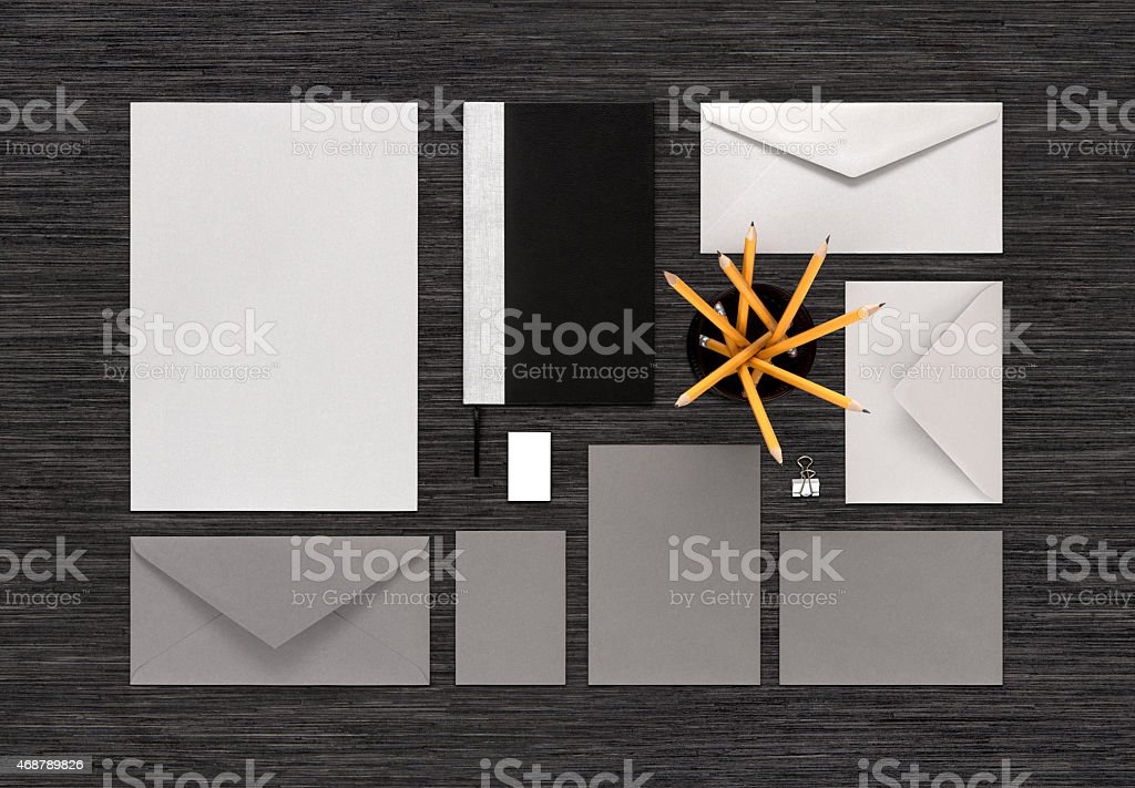 Top view of gray and silver color branding business mock-up stock photo