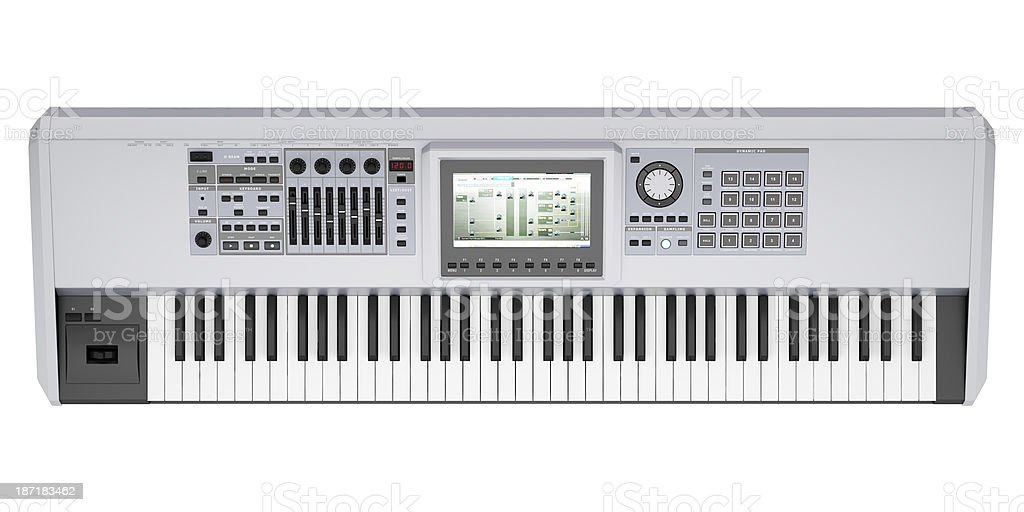top view of gray synthesizer isolated on white background royalty-free stock photo