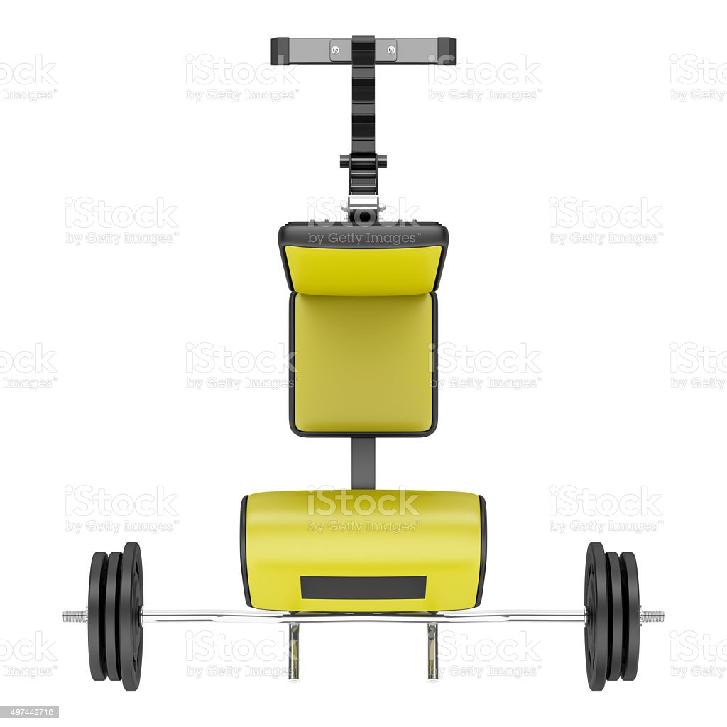 top view of gym arm curl bench with barbell isolated stock photo