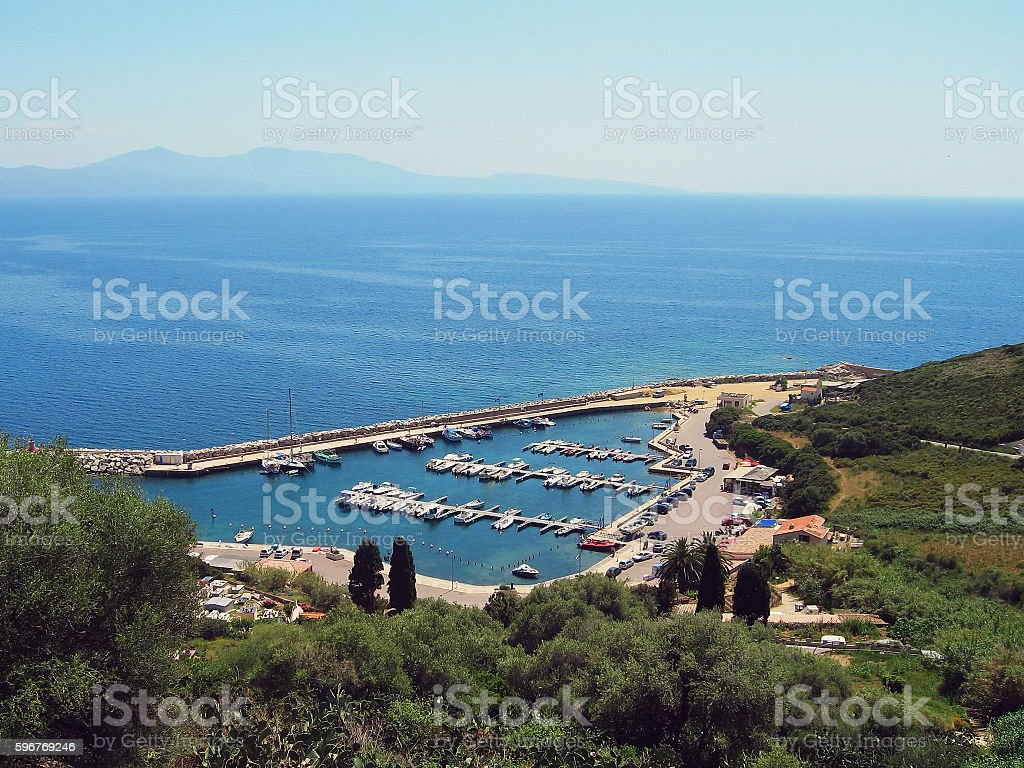 Top view of harbor near Cargese, Corsica island, France stock photo