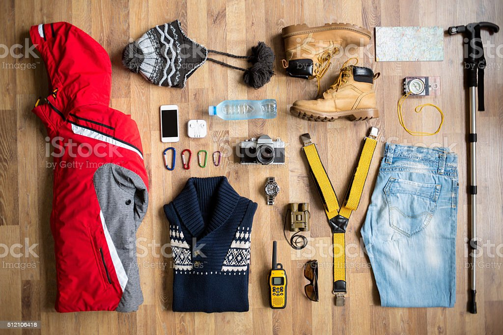 top view of hiking equipment stock photo