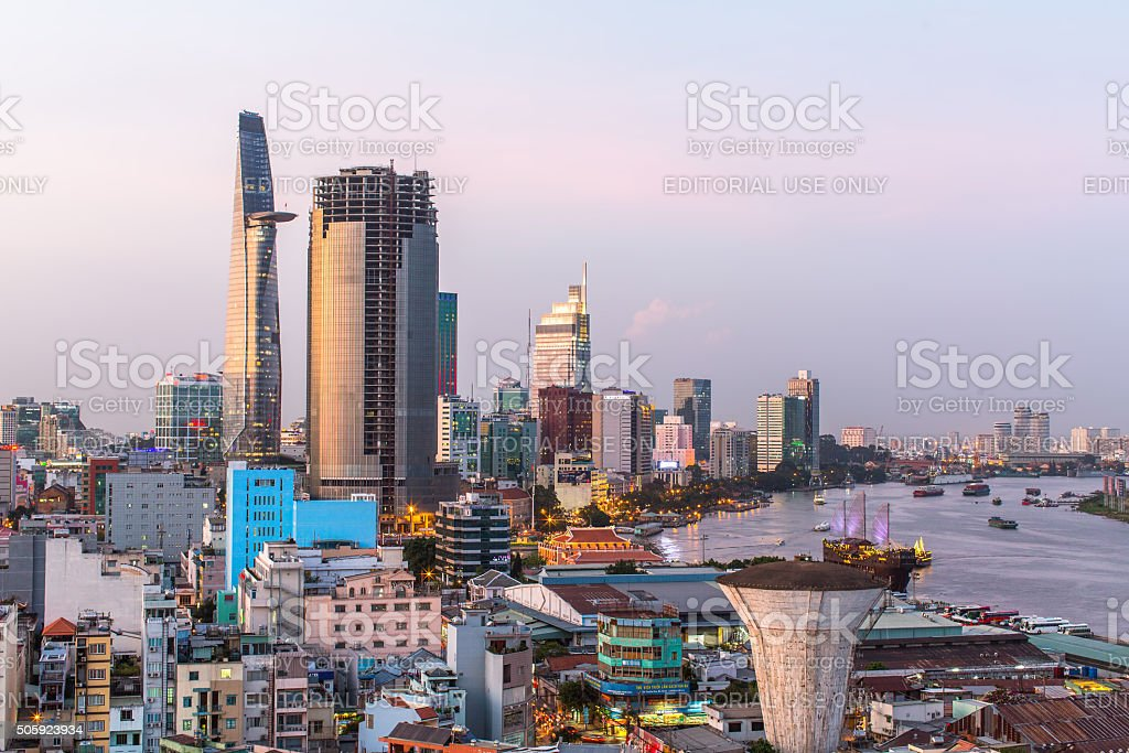 Top view of Ho Chi Minh City. stock photo