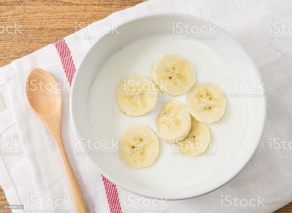 Top View of Homemade Yoghurt with Organic Banana stock photo