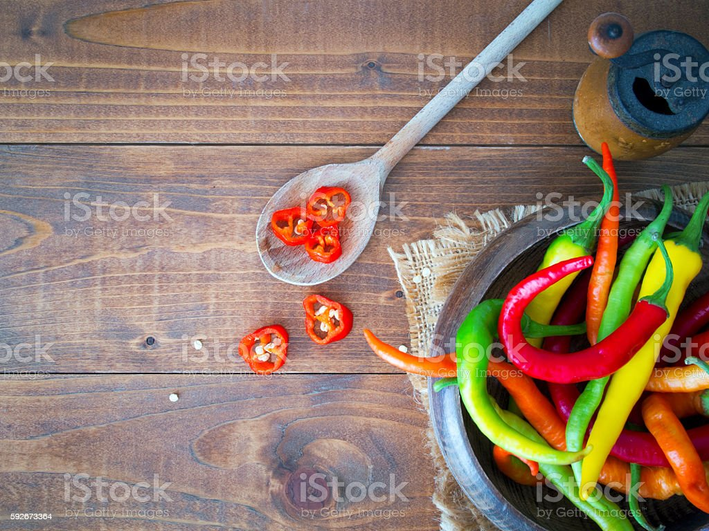 Top view of hot peppers stock photo