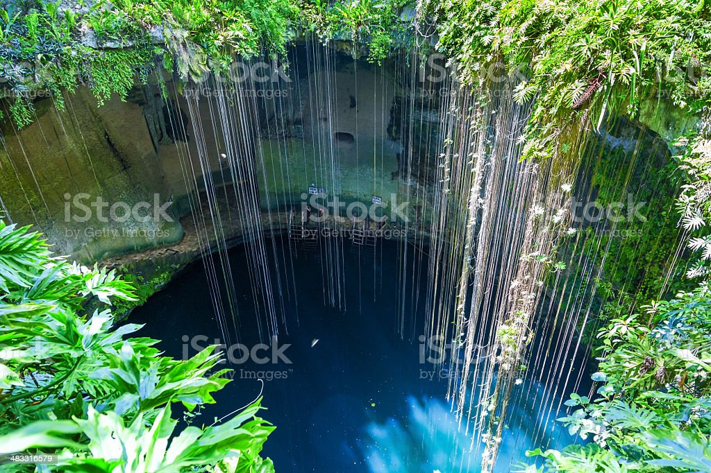 Top view of Ik-Kil Cenote in Yucatan, Mexico stock photo