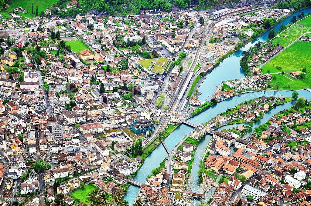 Top view of Interlaken stock photo