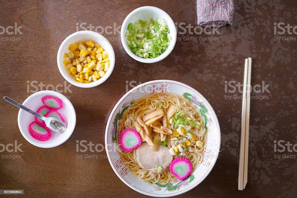 Top view of japanese soup with noodles Ramen in Hokkaido stock photo