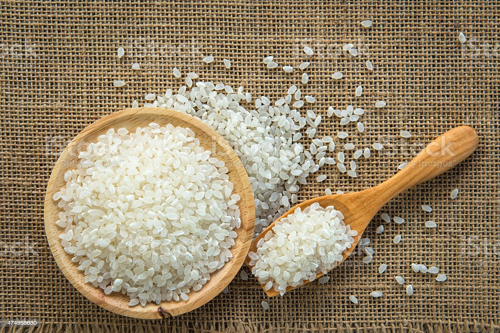 Top view of Japan's Rice on textile stock photo