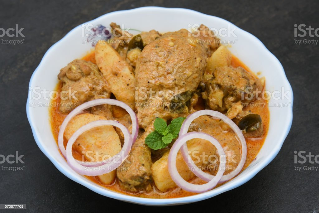 Top view of Kerala style chicken curry dish spicy and hot stock photo