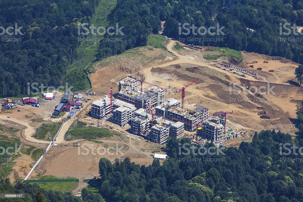 Top view of Krasnaya Polyana, Sochi, Russia. royalty-free stock photo