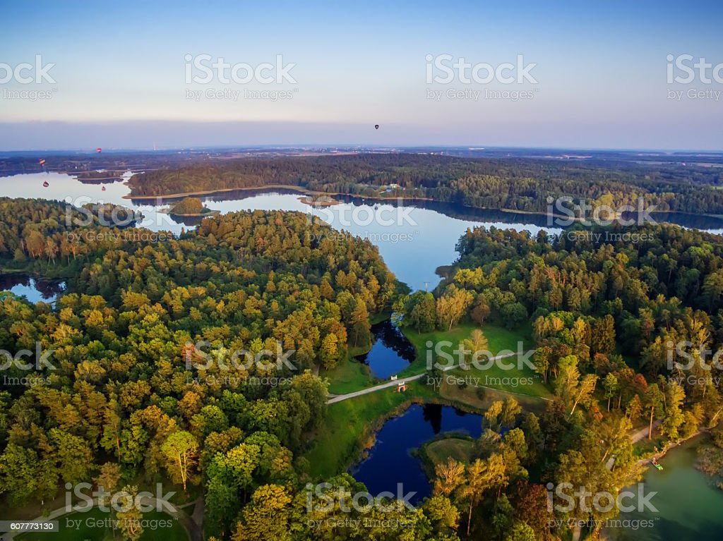 Top view of lakes next to Trakai and Vilnius, Lithuania stock photo