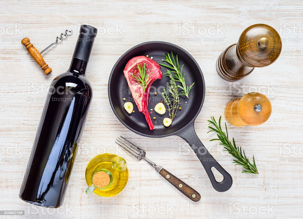 Top View of Lamb Ribs with Red Wine stock photo