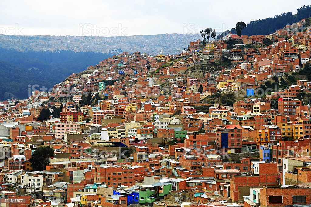 Top view of Lapaz, Bolivia stock photo