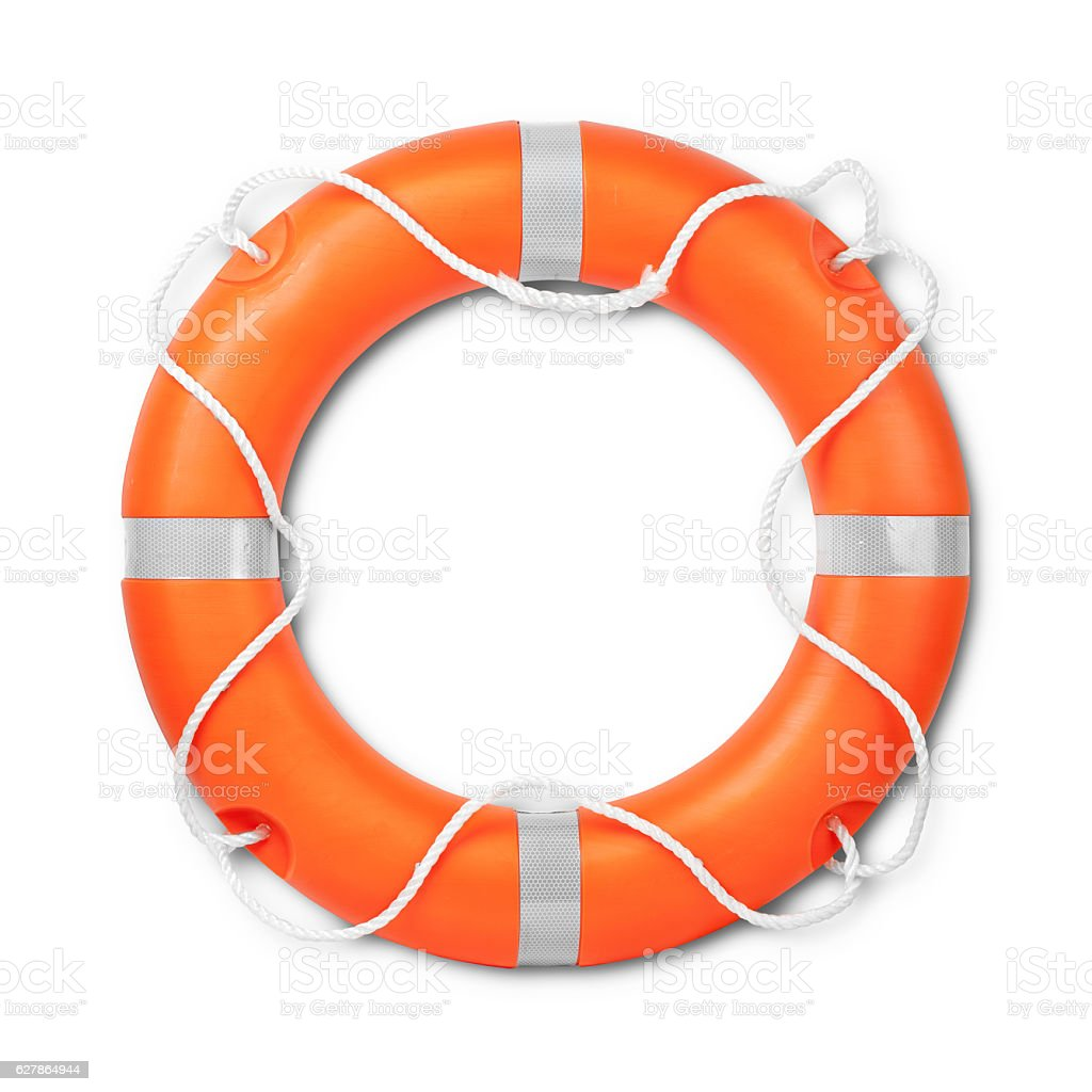 Top view of lifebuoy, isolated on a white background stock photo
