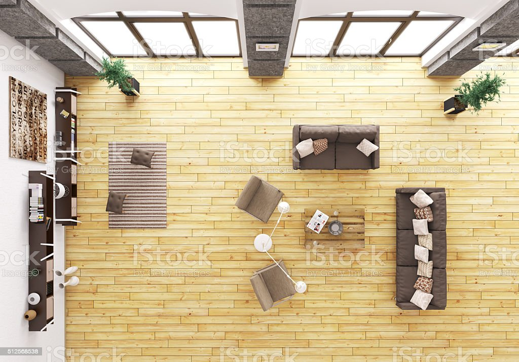 Top view of living room interior 3d render stock photo