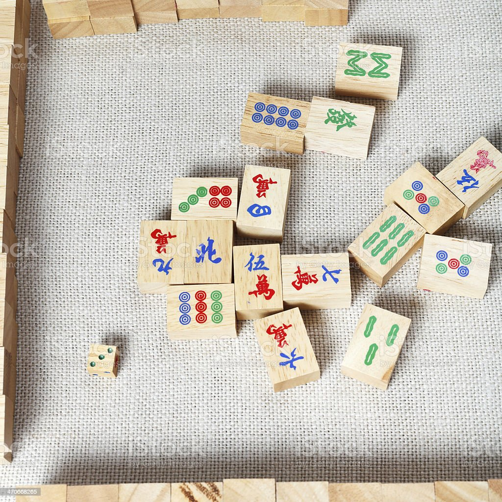 top view of mahjong desk game stock photo