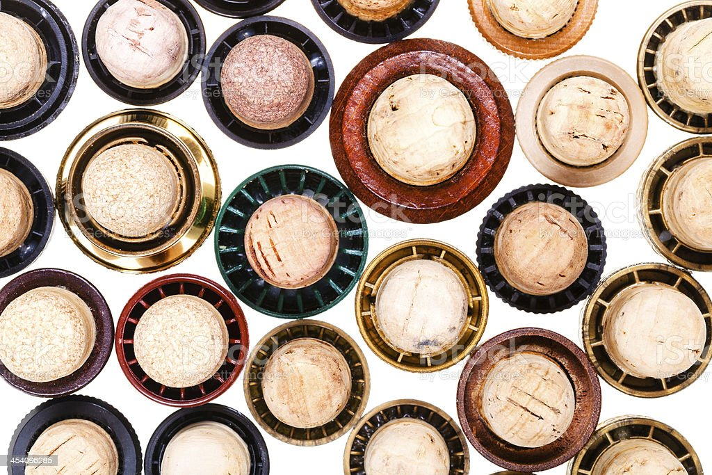 top view of many corks from beverages stock photo
