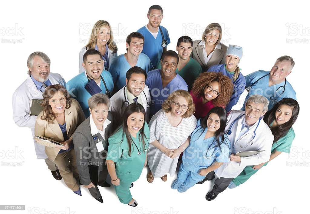 Top view of medical team isolated on white royalty-free stock photo