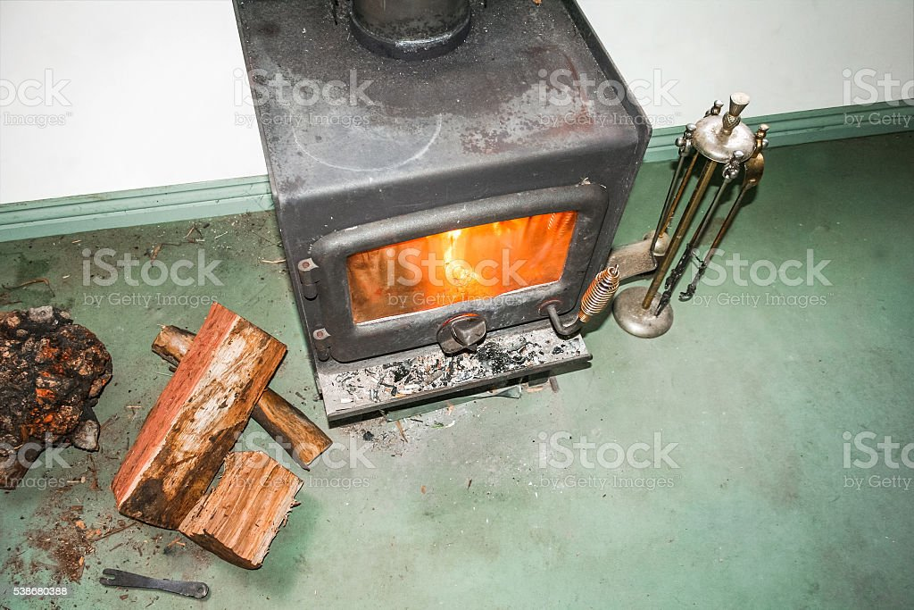Top view of metal fireplace with fire stock photo