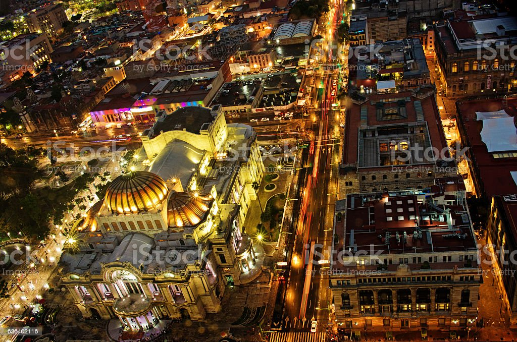 Top view of Mexico-city at night, Zocalo stock photo
