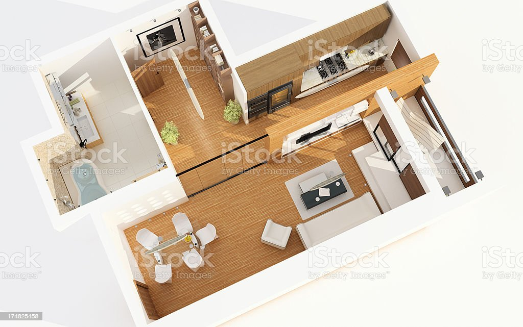 Top View of Modern Apartment. Planning. Architecture Abstract. stock photo