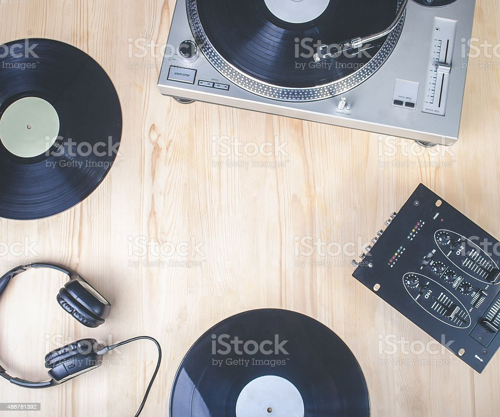 top view of music player equipment on wooden desk stock photo