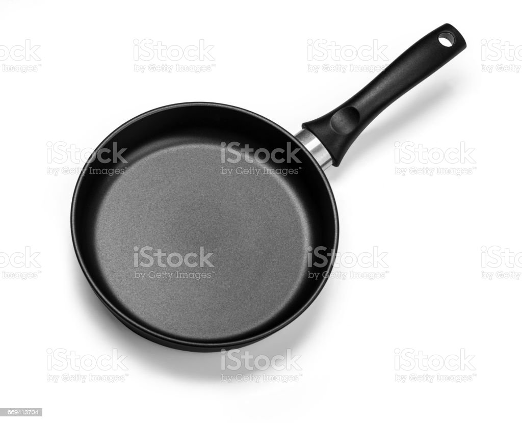 Top view of new empty frying pan stock photo
