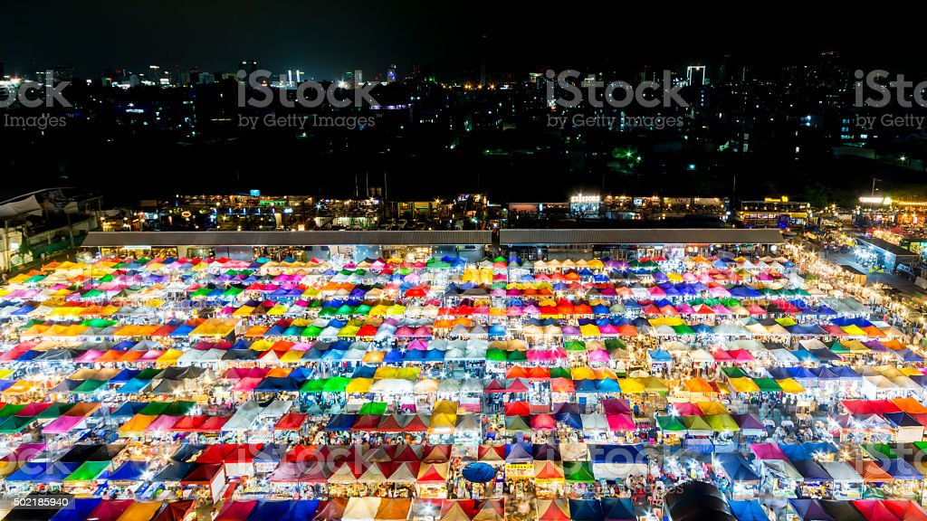 Top view of Night market stock photo