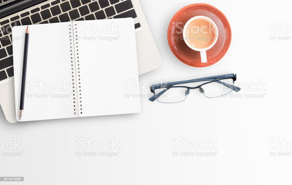 Top view of office desk table stock photo