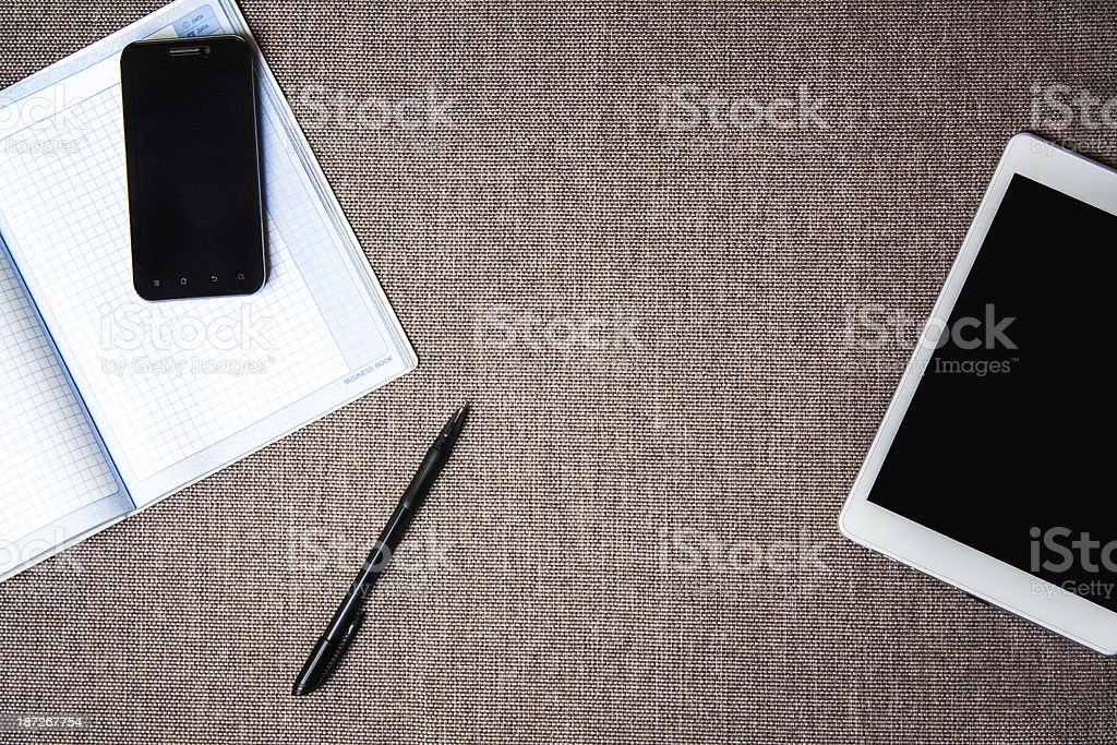 Top view of office work place. Desktop stock photo