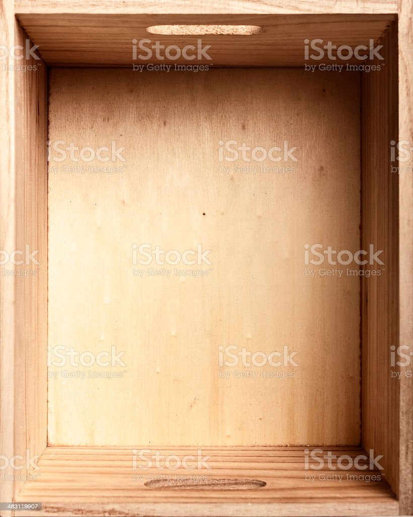 Top view of old wooden box stock photo