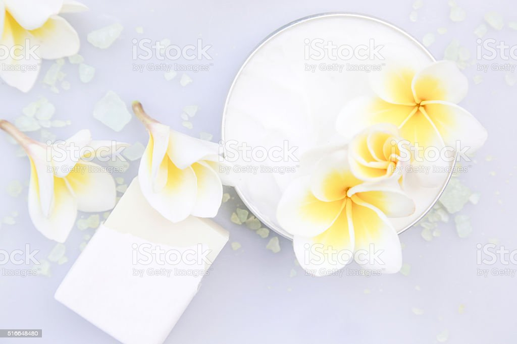 Top view of organic cream and soap stock photo