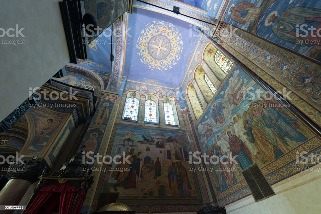 Top view of orthodox cathedral stock photo