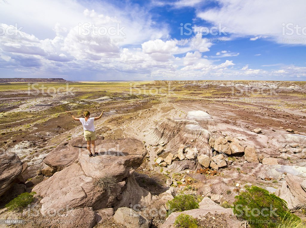 Top view of Painted desert stock photo