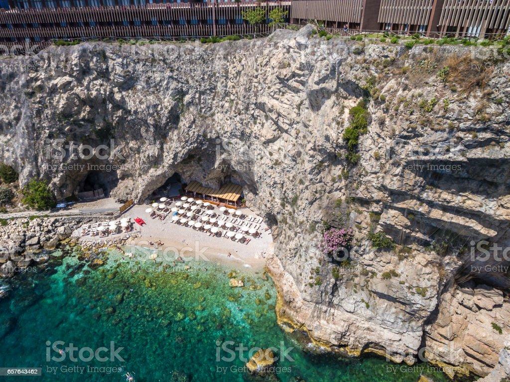 Top View of Paradise Stone Beach in Taormina, Italy stock photo