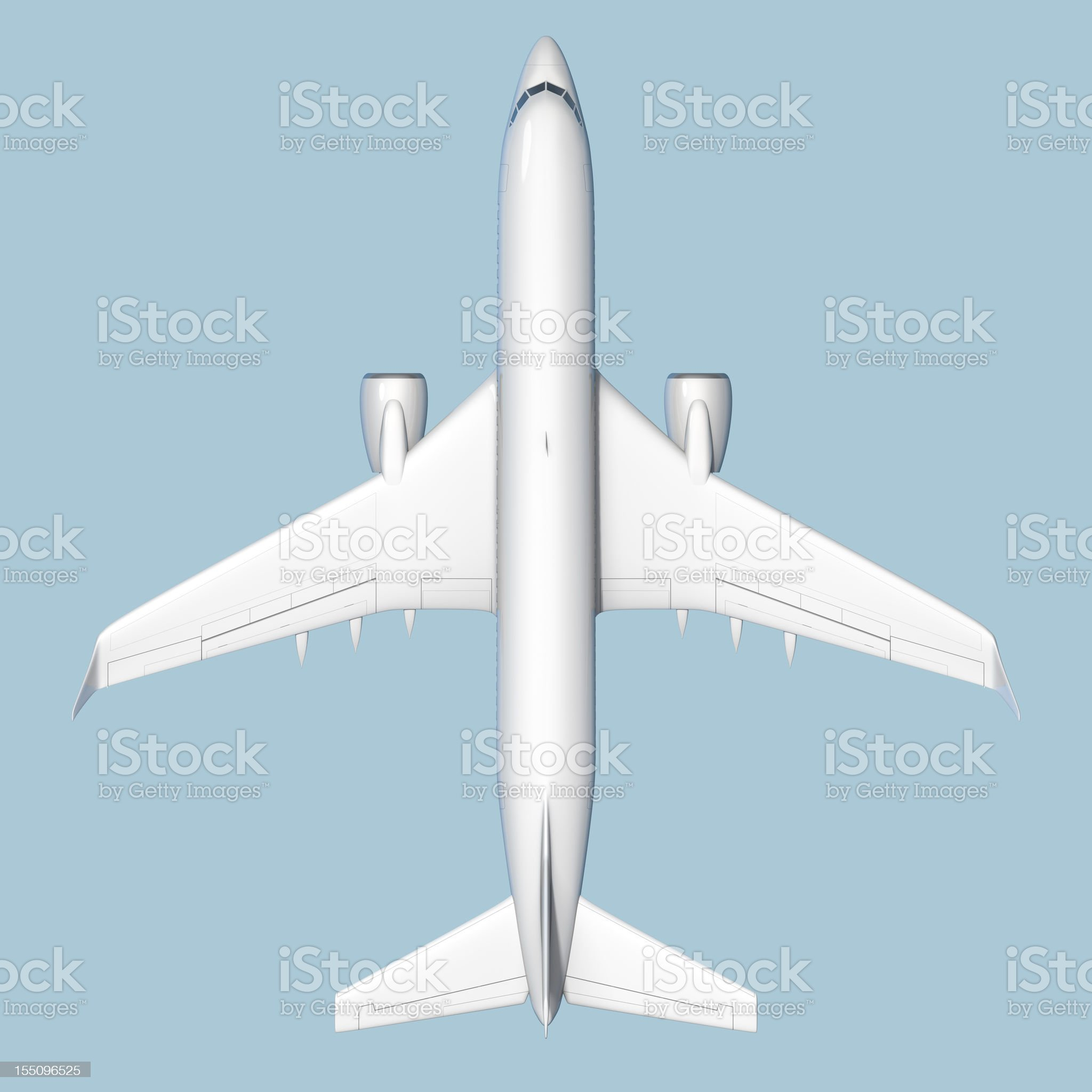 Top view of passenger airplane isolated on blue background royalty-free stock vector art