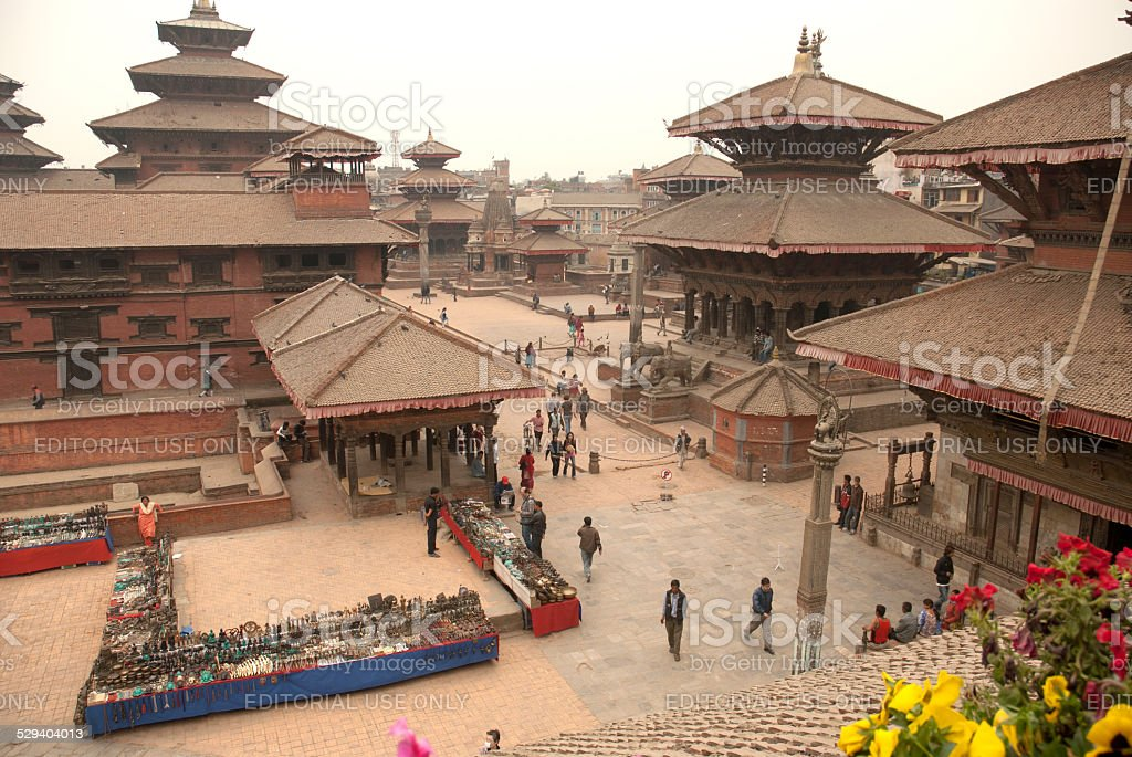 Top view of Patan Durbar Square,Nepal. stock photo