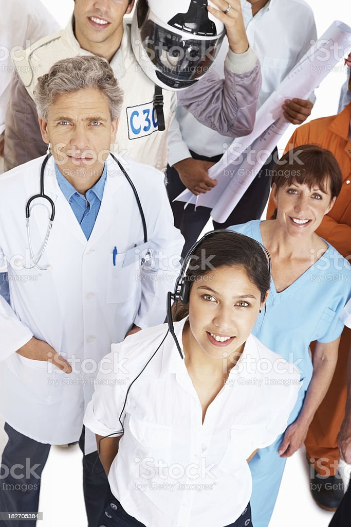 Top view of people with different occupations royalty-free stock photo