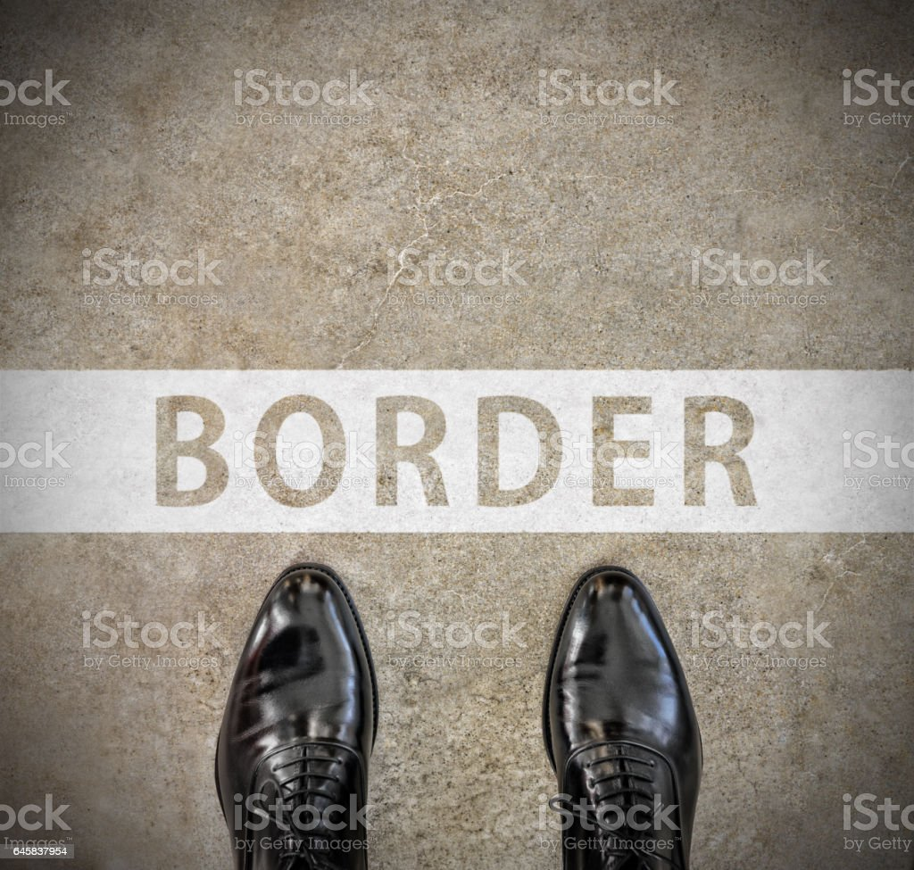 Top view of perfect kept business shoes, border line stock photo